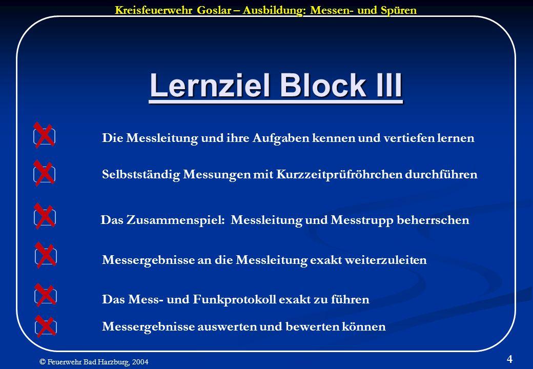 Kreisfeuerwehr Goslar – Ausbildung: Messen- und Spüren © Feuerwehr Bad Harzburg, 2004 4 Lernziel Block III Messergebnisse an die Messleitung exakt wei