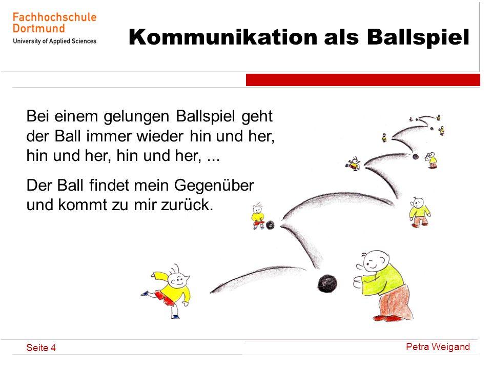 Seite 4 Kommunikation als Ballspiel Bei einem gelungen Ballspiel geht der Ball immer wieder hin und her, hin und her, hin und her,... Der Ball findet