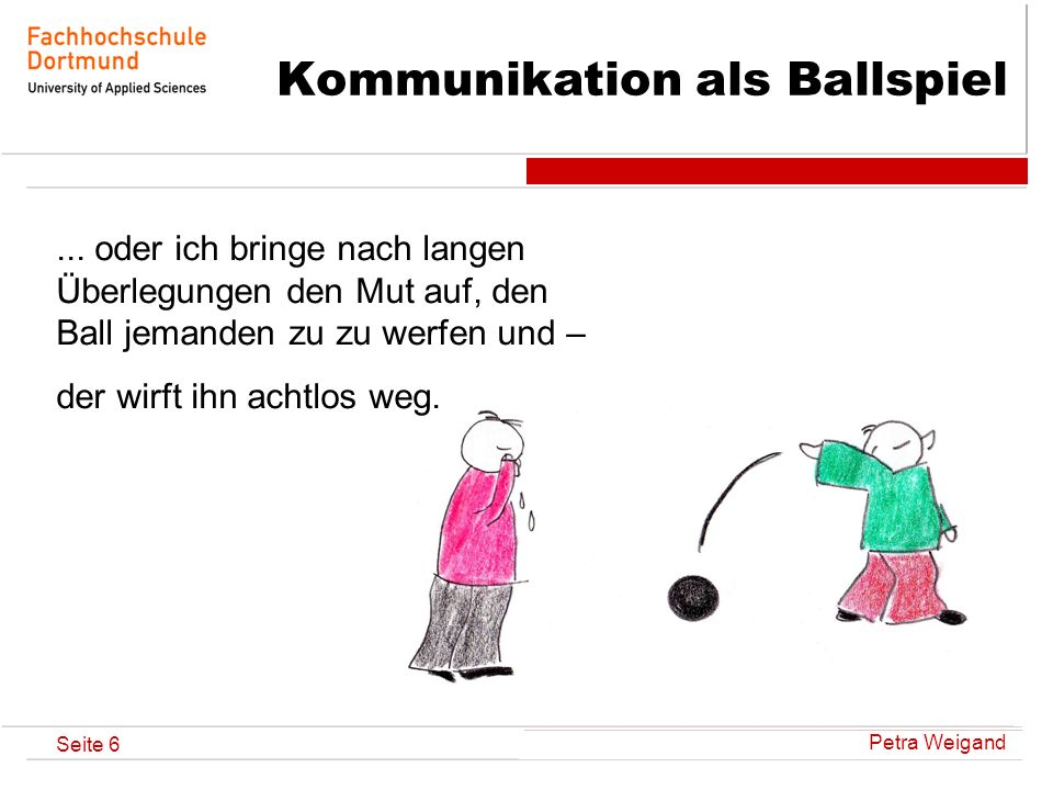 Petra Weigand Seite 7 Kommunikation als Ballspiel Oder ich werfe den Ball ganz behutsam und vorsichtig und - der Andere schiesst ihn mit voller Wucht zurück!