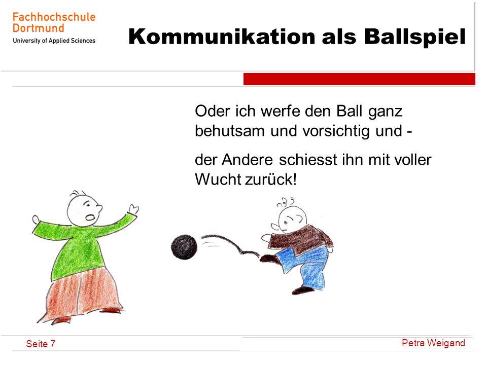 Petra Weigand Seite 7 Kommunikation als Ballspiel Oder ich werfe den Ball ganz behutsam und vorsichtig und - der Andere schiesst ihn mit voller Wucht