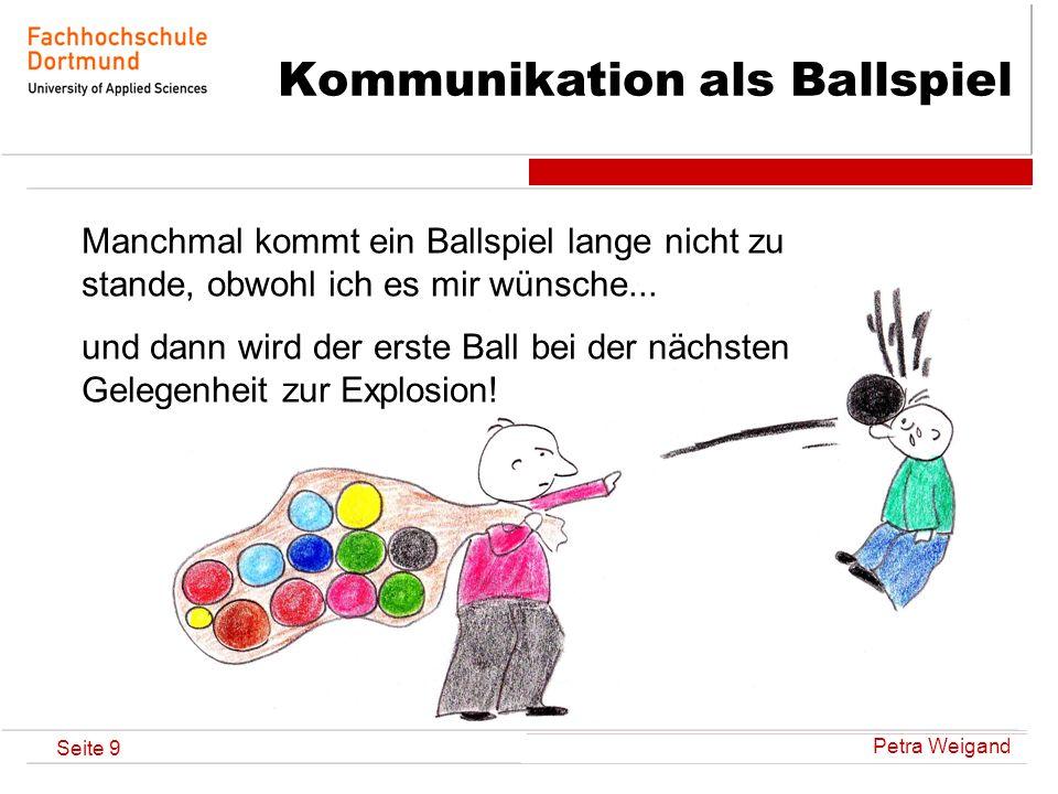 Petra Weigand Seite 9 Kommunikation als Ballspiel Manchmal kommt ein Ballspiel lange nicht zu stande, obwohl ich es mir wünsche... und dann wird der e