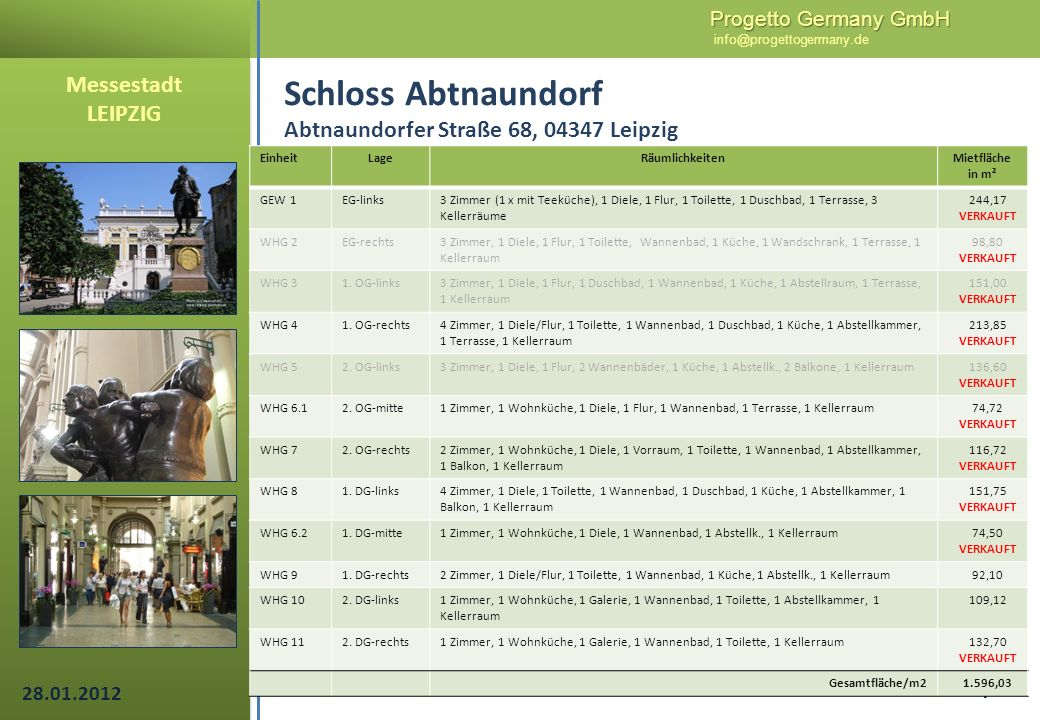 Progetto Germany GmbH Progetto Germany GmbH info@progettogermany.de 6/14 Schloss Abtnaundorf Abtnaundorfer Straße 68, 04347 Leipzig EinheitLageRäumlic