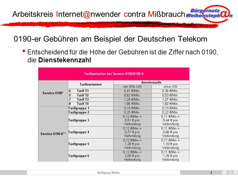 5 Arbeitskreis Internet@nwender contra Mißbrauch 5 Wolfgang Müller Ärgernis 0190-0, kassieren schon am Anfang der Verbindung Hier entscheidet der Inhaltsanbieter, was das kostet Gebühr von der Dauer unabhängig bei der Einwahl oder eine Gebühr in beliebiger Höhe je Zeiteinheit oder eine Kombination aus beiden Alternativen nur die Regeln des FST e.V.