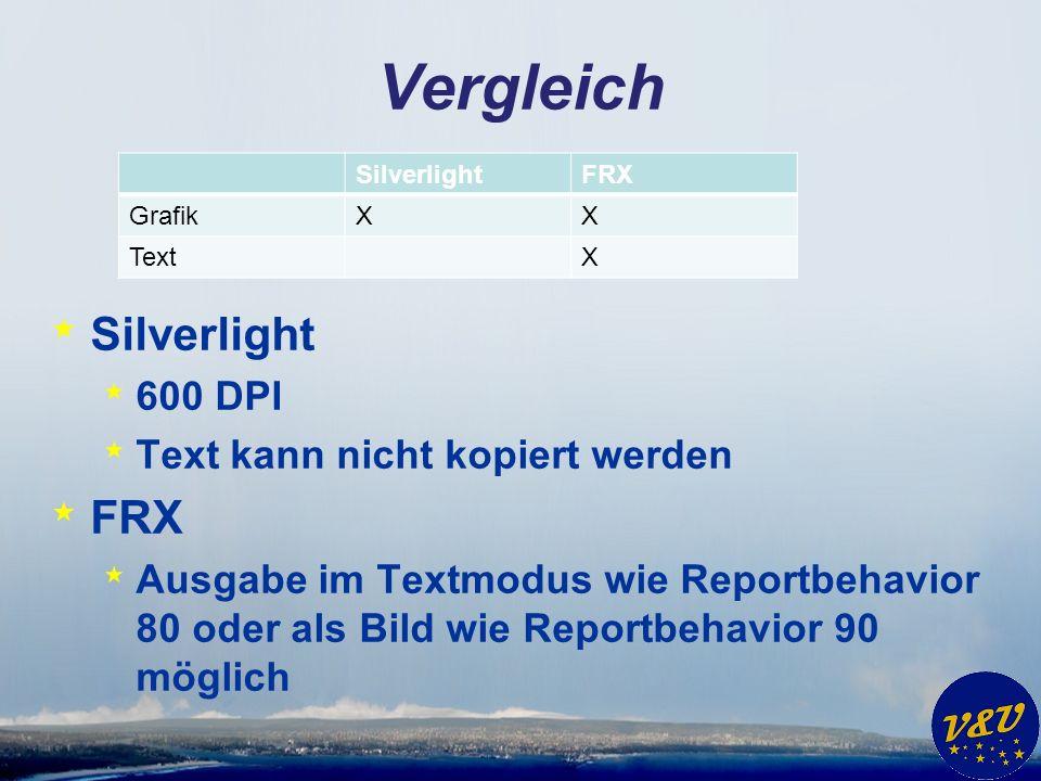 Vergleich SilverlightFRX GrafikXX TextX * Silverlight * 600 DPI * Text kann nicht kopiert werden * FRX * Ausgabe im Textmodus wie Reportbehavior 80 od