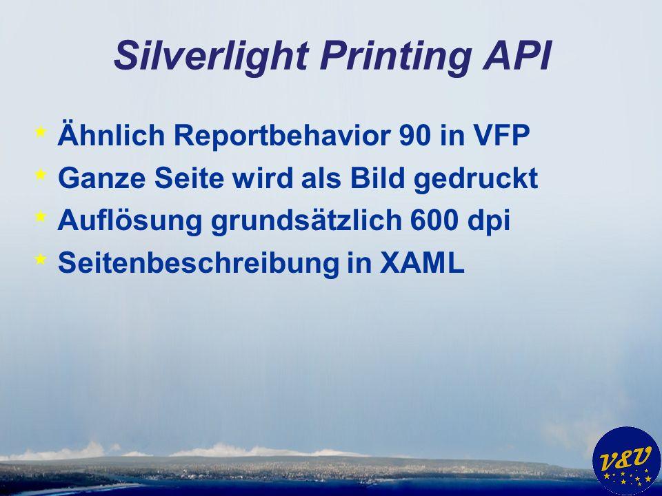 Silverlight Printing API * Ähnlich Reportbehavior 90 in VFP * Ganze Seite wird als Bild gedruckt * Auflösung grundsätzlich 600 dpi * Seitenbeschreibung in XAML