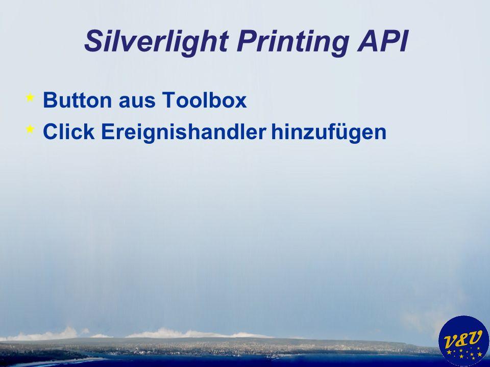 Silverlight Printing API * Klasse PrintDocument using System.Windows.Printing; PrintDocument DruckObjekt = new PrintDocument(); DruckObjekt.Print( mein Druckauftrag );