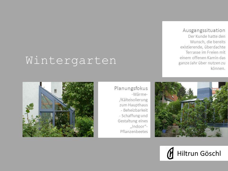 Wintergarten Ausgangssituation Der Kunde hatte den Wunsch, die bereits existierende, überdachte Terrasse im Freien mit einem offenen Kamin das ganze Jahr über nutzen zu können.