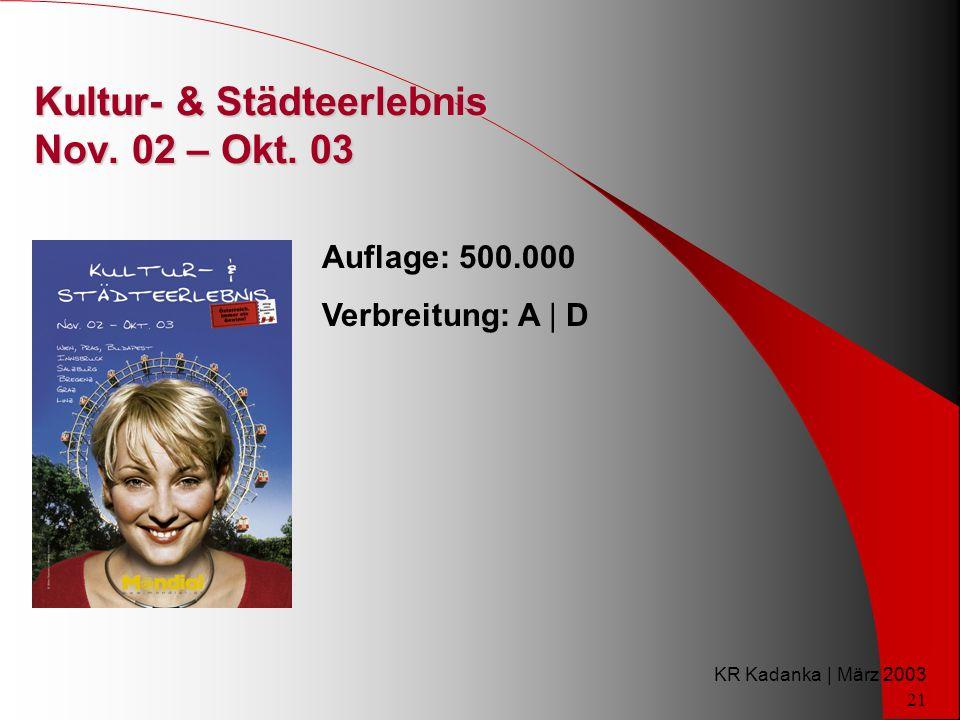 KR Kadanka | März 2003 21 Kultur- & Städteerlebnis Nov.