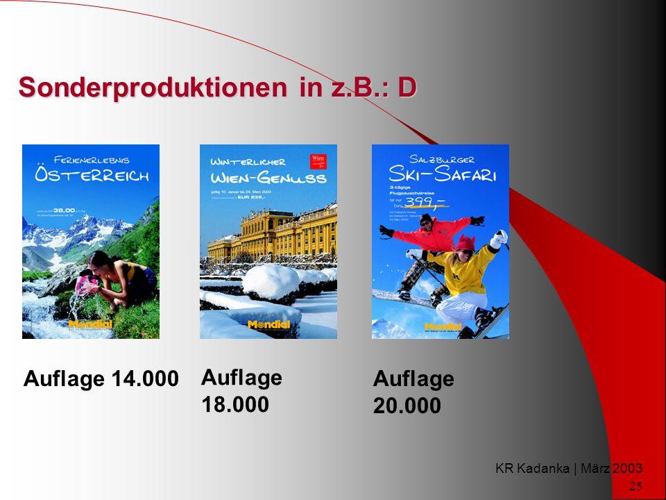 KR Kadanka | März 2003 25 Sonderproduktionen in z.B.: D Auflage 14.000 Auflage 18.000 Auflage 20.000