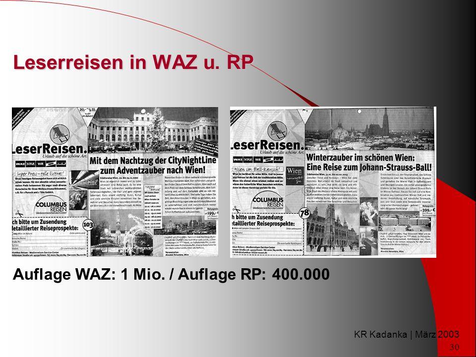 KR Kadanka | März 2003 30 Leserreisen in WAZ u. RP Auflage WAZ: 1 Mio. / Auflage RP: 400.000