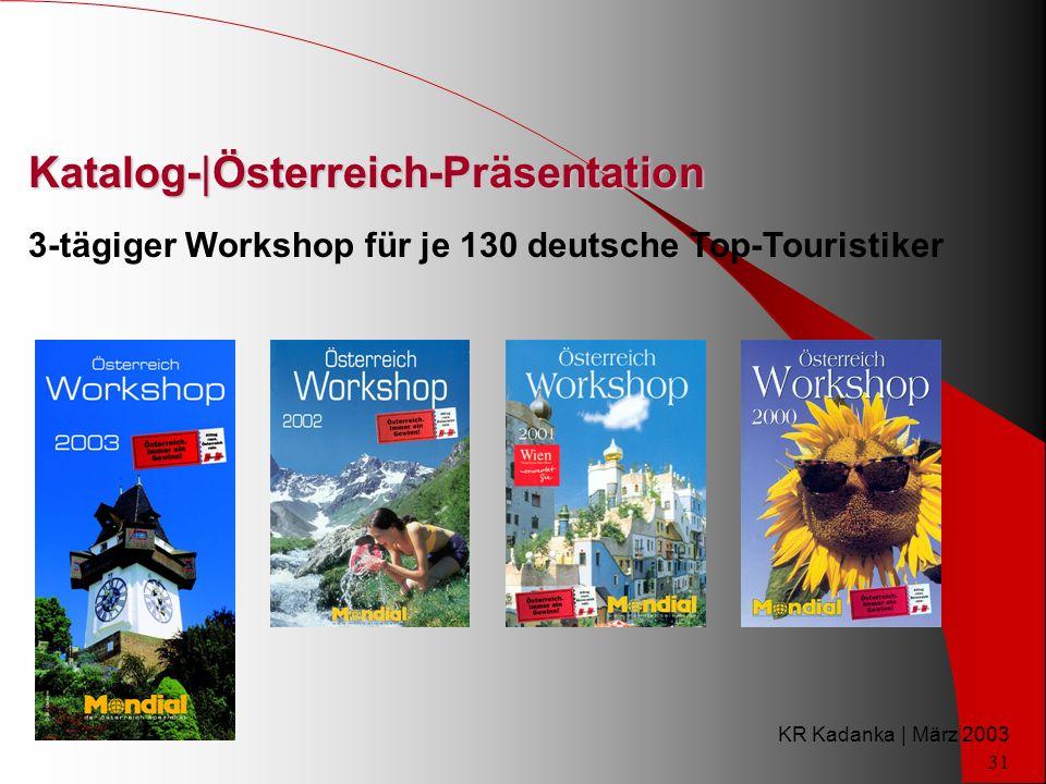 KR Kadanka | März 2003 31 Katalog-|Österreich-Präsentation 3-tägiger Workshop für je 130 deutsche Top-Touristiker