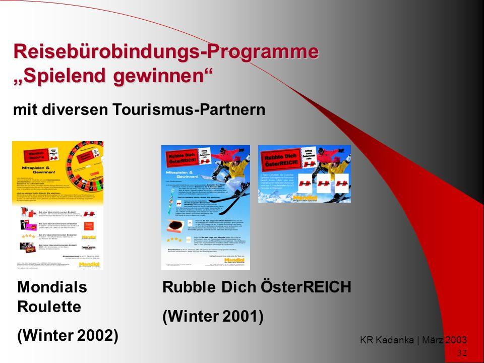 KR Kadanka | März 2003 32 Reisebürobindungs-Programme Spielend gewinnen mit diversen Tourismus-Partnern Mondials Roulette (Winter 2002) Rubble Dich ÖsterREICH (Winter 2001)
