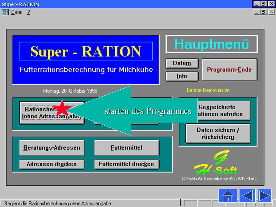 Super - RATION Es stehen über 220 Futtermittel aus österreichischen und DLG Futterwerttabellen zur Verfügung schließt das das Fenster Fenster
