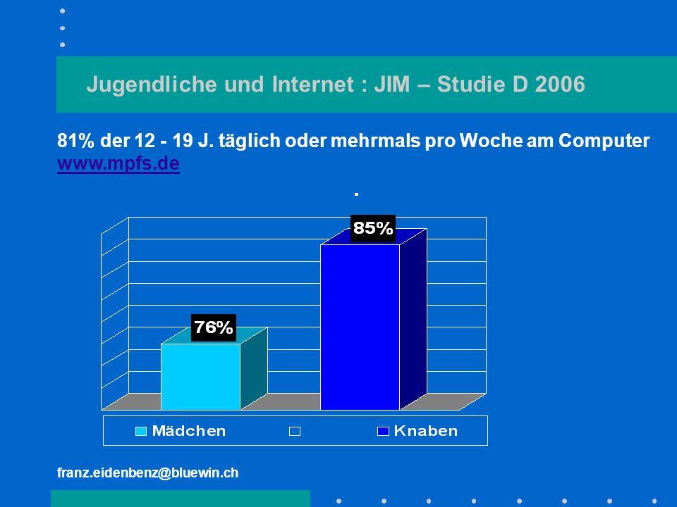 franz.eidenbenz@bluewin.ch Jugendliche und Internet : JIM – Studie D 2006 81% der 12 - 19 J. täglich oder mehrmals pro Woche am Computer www.mpfs.de w