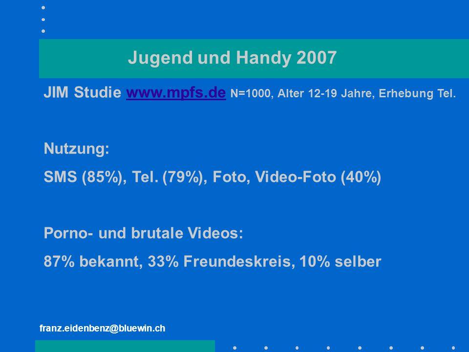 franz.eidenbenz@bluewin.ch Jugend und Handy 2007 JIM Studie www.mpfs.de N=1000, Alter 12-19 Jahre, Erhebung Tel.www.mpfs.de Nutzung: SMS (85%), Tel. (