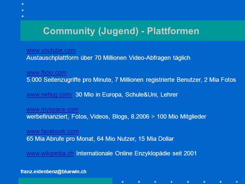 franz.eidenbenz@bluewin.ch Community (Jugend) - Plattformen www.youtube.com Austauschplattform über 70 Millionen Video-Abfragen täglich www.flickr.com