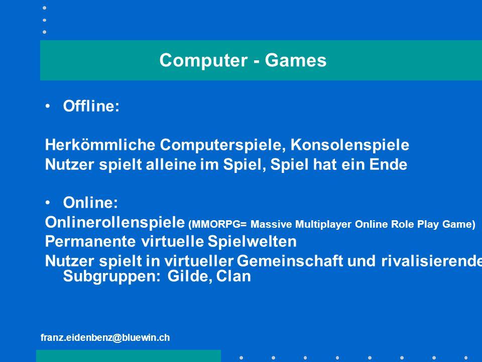 franz.eidenbenz@bluewin.ch Computer - Games Offline: Herkömmliche Computerspiele, Konsolenspiele Nutzer spielt alleine im Spiel, Spiel hat ein Ende On