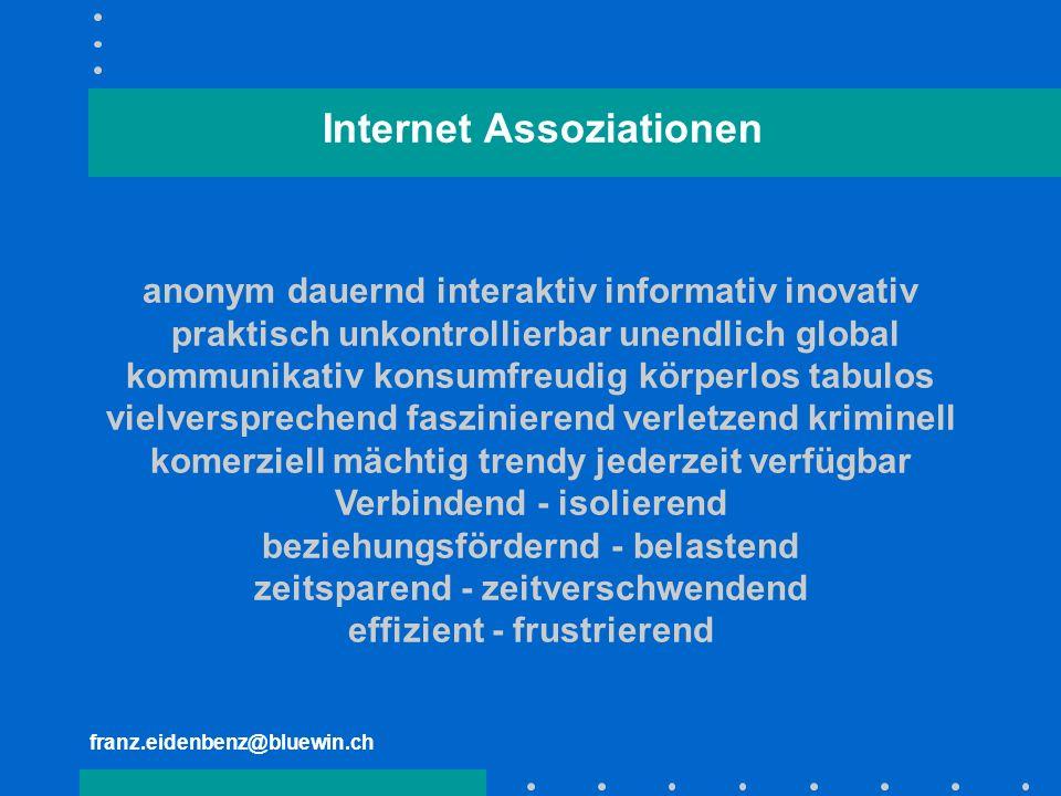 franz.eidenbenz@bluewin.ch anonym dauernd interaktiv informativ inovativ praktisch unkontrollierbar unendlich global kommunikativ konsumfreudig körper