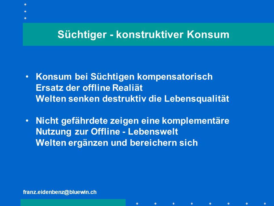 franz.eidenbenz@bluewin.ch Süchtiger - konstruktiver Konsum Konsum bei Süchtigen kompensatorisch Ersatz der offline Realiät Welten senken destruktiv d