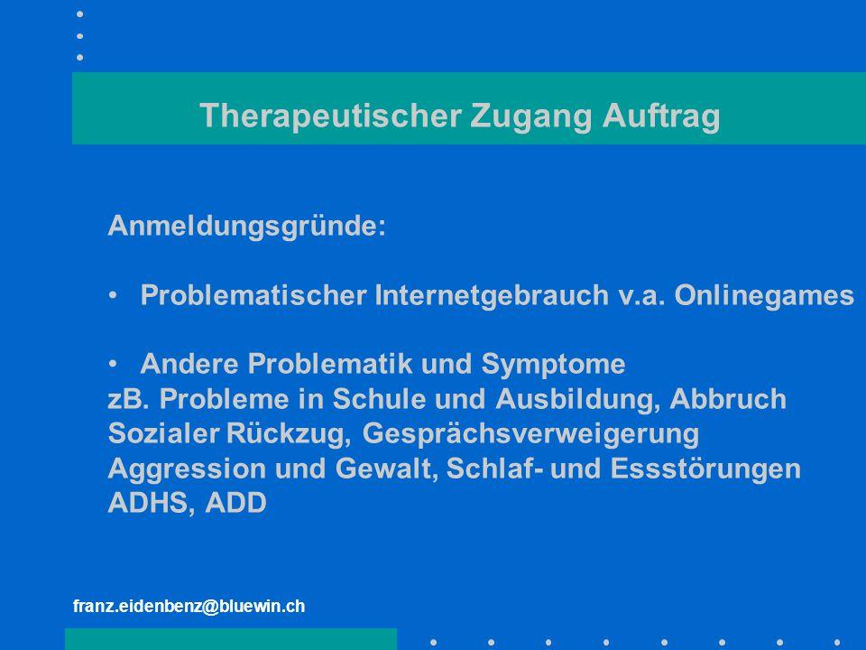 franz.eidenbenz@bluewin.ch Therapeutischer Zugang Auftrag Anmeldungsgründe: Problematischer Internetgebrauch v.a. Onlinegames Andere Problematik und S