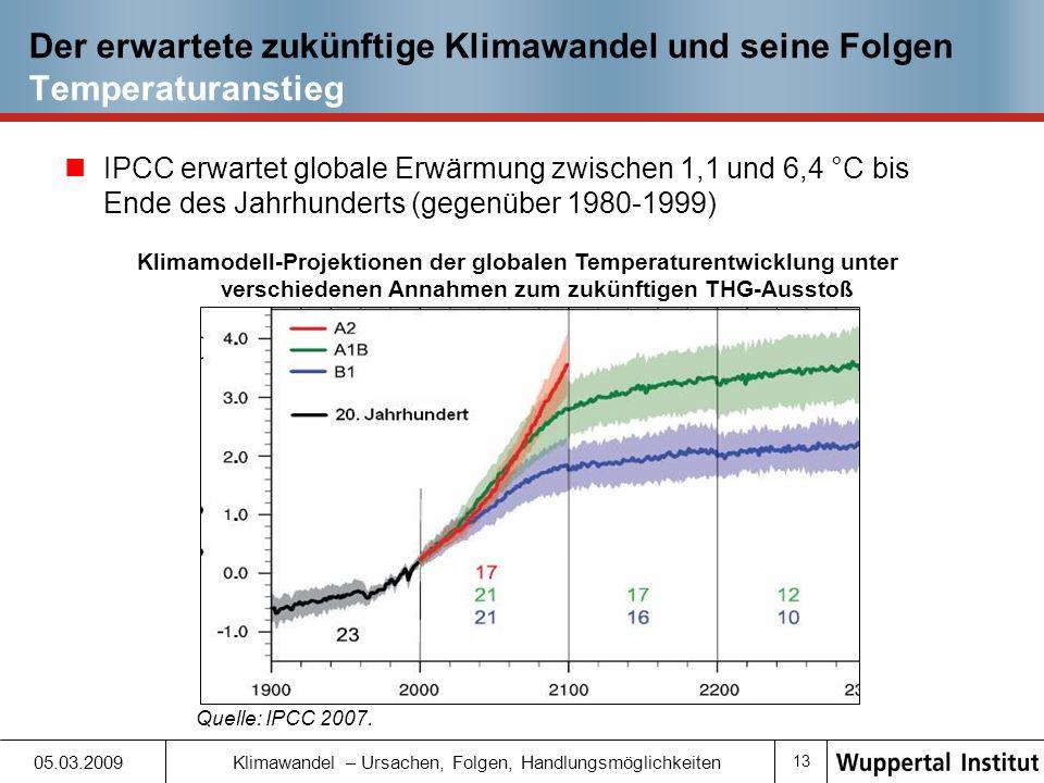 Der erwartete zukünftige Klimawandel und seine Folgen