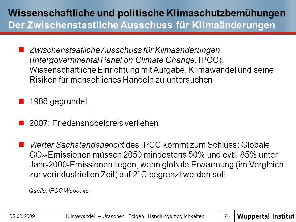 Wissenschaftliche und politische Klimaschutzbemühungen