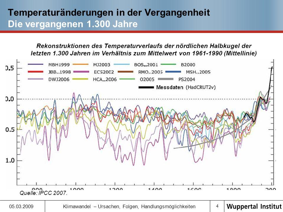 14 05.03.2009 Klimawandel – Ursachen, Folgen, Handlungsmöglichkeiten Der erwartete zukünftige Klimawandel und seine Folgen Meeresspiegelanstieg (I) Durchschnittlicher Meeresspiegelanstieg seit 1880: 20 cm IPCC erwartet weiteren Anstieg von mindestens 18 bis 59 cm bis 2090-2099 (gegenüber 1980-1999) Nicht berücksichtigt: Zusätzlicher Meeresspiegelanstieg aufgrund möglicher zukünftiger dynamischer Änderungen des Eisabflusses kontinentaler Eismassen Meeresspiegelanstieg bis 2100 wahrscheinlich unter einem Meter, mehr als ein Meter kann aber nicht ausgeschlossen werden Quelle: IPCC 2007, Rahmstorf 2006.