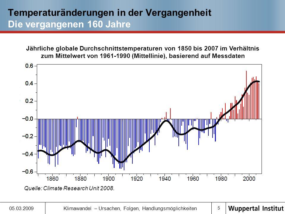 5 05.03.2009 Klimawandel – Ursachen, Folgen, Handlungsmöglichkeiten Temperaturänderungen in der Vergangenheit Die vergangenen 160 Jahre Jährliche globale Durchschnittstemperaturen von 1850 bis 2007 im Verhältnis zum Mittelwert von 1961-1990 (Mittellinie), basierend auf Messdaten Quelle: Climate Research Unit 2008.