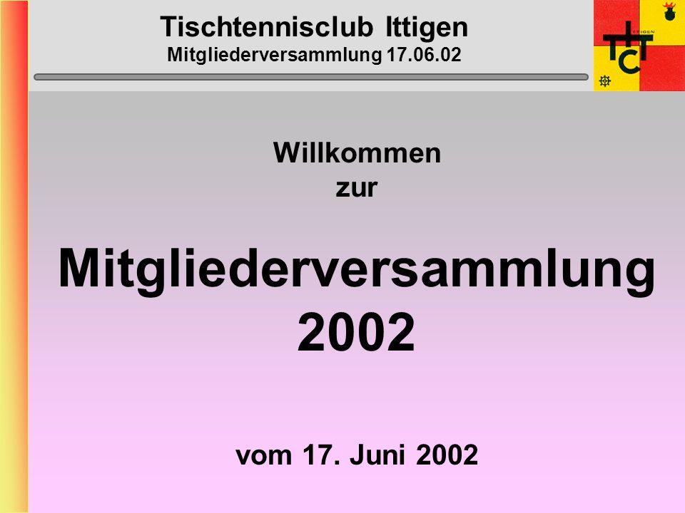 Tischtennisclub Ittigen Mitgliederversammlung 17.06.02 Willkommen zur Mitgliederversammlung 2002 vom 17.