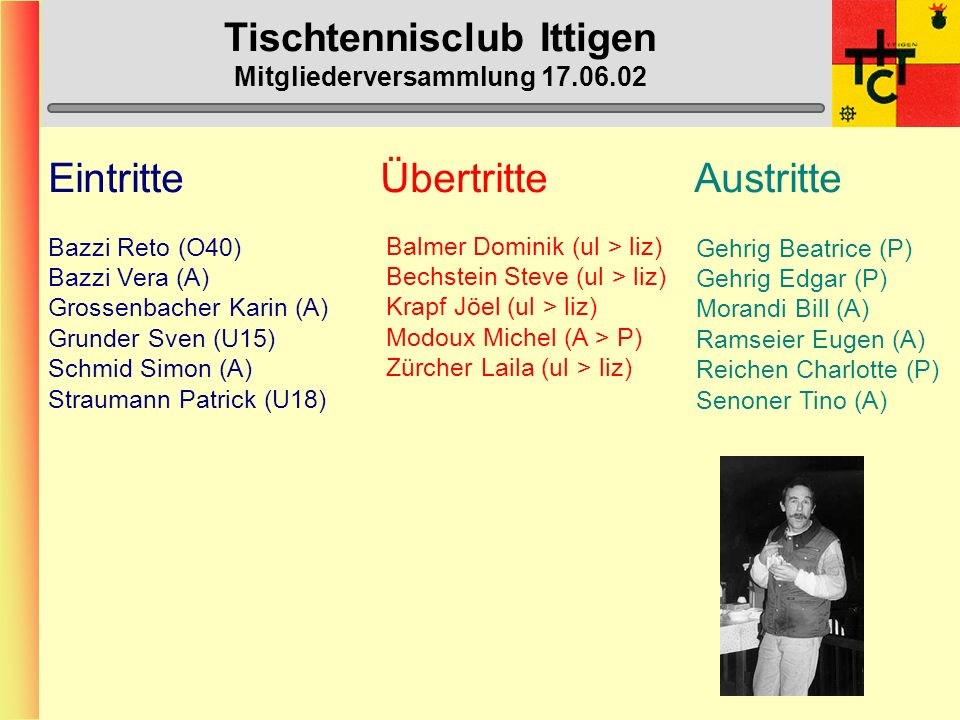 Tischtennisclub Ittigen Mitgliederversammlung 17.06.02 Ittigen 1- O40 (1.