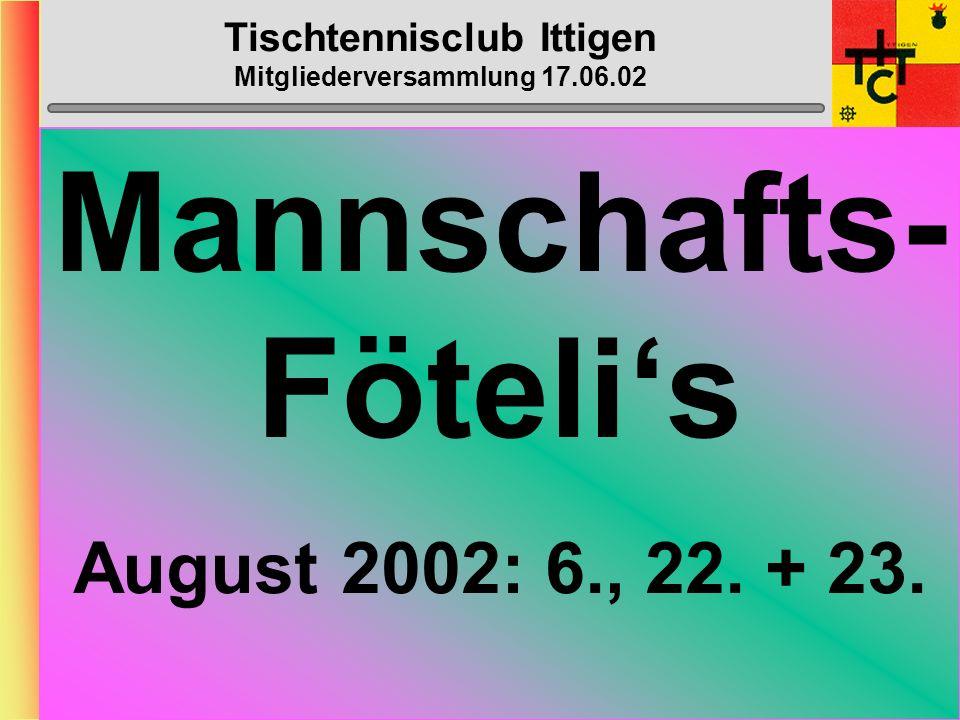 Tischtennisclub Ittigen Mitgliederversammlung 17.06.02 B-Cup-Progr.