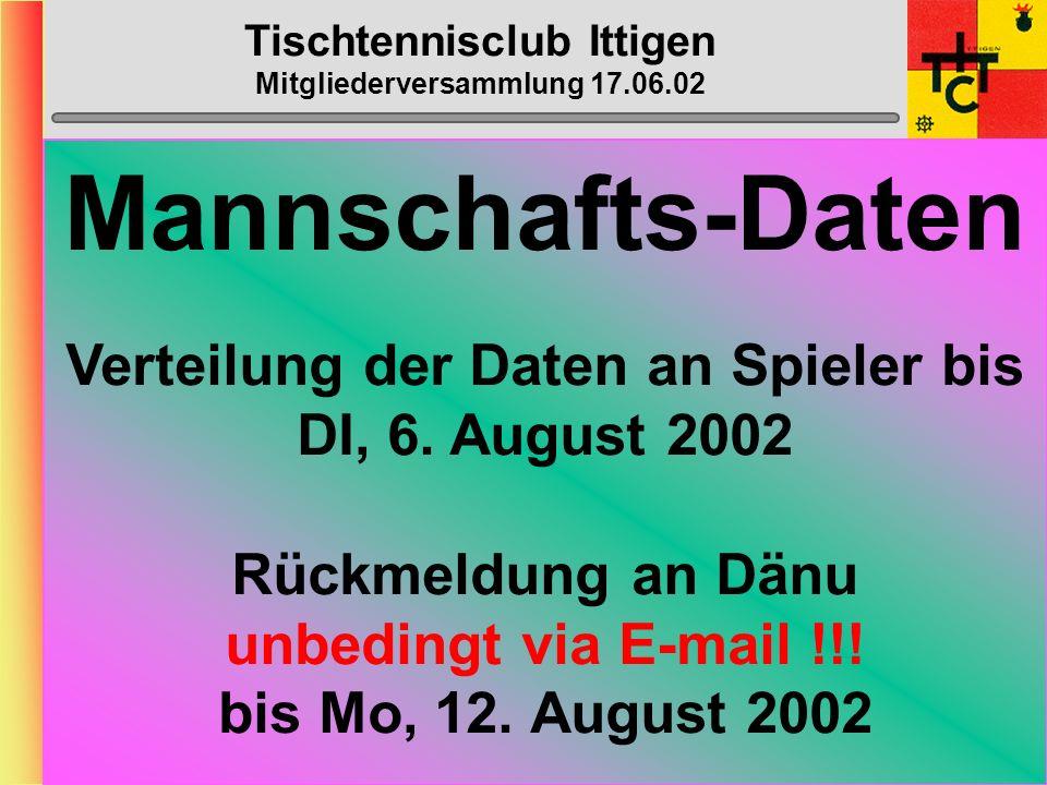 Tischtennisclub Ittigen Mitgliederversammlung 17.06.02 Mannschafts- Fötelis August 2002: 6., 22. + 23.