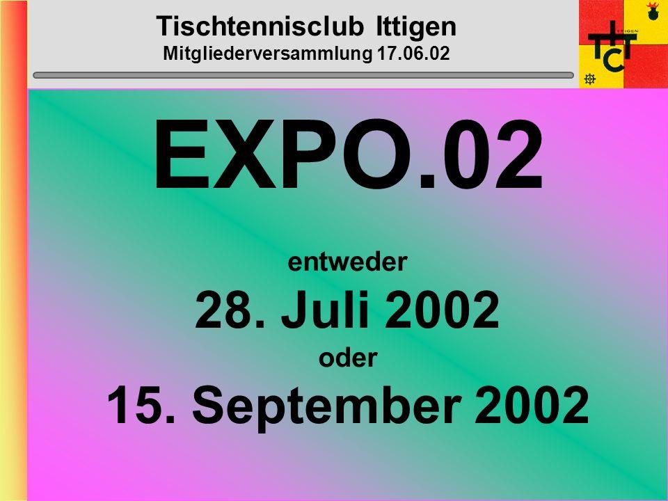 Tischtennisclub Ittigen Mitgliederversammlung 17.06.02 Mannschafts-Daten Verteilung der Daten an Spieler bis DI, 6. August 2002 Rückmeldung an Dänu un