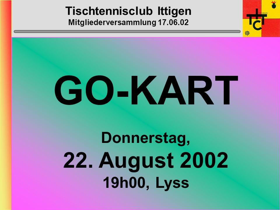 Tischtennisclub Ittigen Mitgliederversammlung 17.06.02 Europapark Rust Donnerstag, (ev.) 1. August 2002