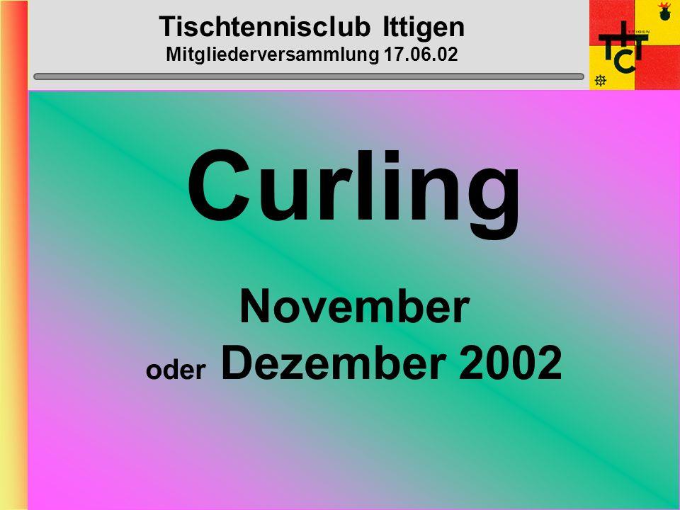 Tischtennisclub Ittigen Mitgliederversammlung 17.06.02 Bowling Donnerstag, 7. November 2002