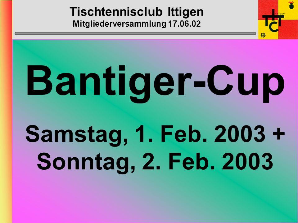 Tischtennisclub Ittigen Mitgliederversammlung 17.06.02 Klub- Meisterschaft Montag, 16. Dezember 2002