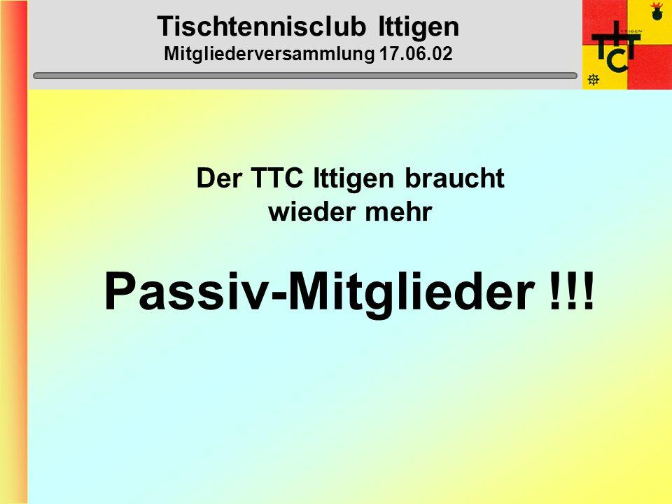 Tischtennisclub Ittigen Mitgliederversammlung 17.06.02 Eintritte ÜbertritteAustritte Bazzi Reto (O40) Bazzi Vera (A) Grossenbacher Karin (A) Grunder S