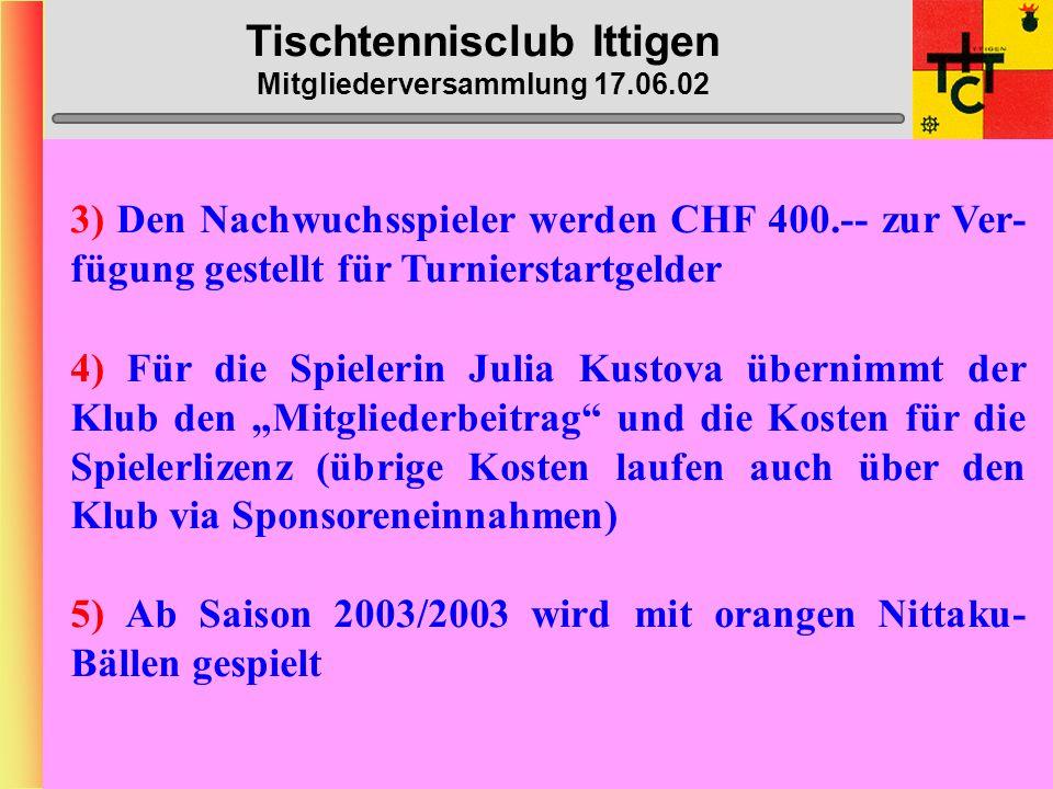 Tischtennisclub Ittigen Mitgliederversammlung 17.06.02 Anträge Vorstand 2) Ausgabenbestimmungen: Gem. Art. 23 der gültigen Statuten bedürfen Geschäfte