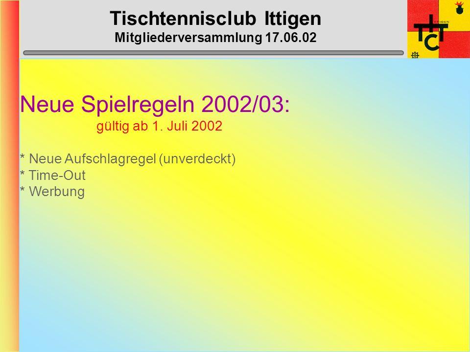 Tischtennisclub Ittigen Mitgliederversammlung 17.06.02 Klassierungs-Änderungen 02/03 SpielerKlassierung alt neu BAZZI VeraB15/A20B14/A20 BLATTER Phili