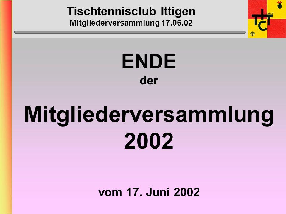 Tischtennisclub Ittigen Mitgliederversammlung 17.06.02 MTTV-/STTV-Cup 2002/2003 Eintrag auf Präsenz-Liste
