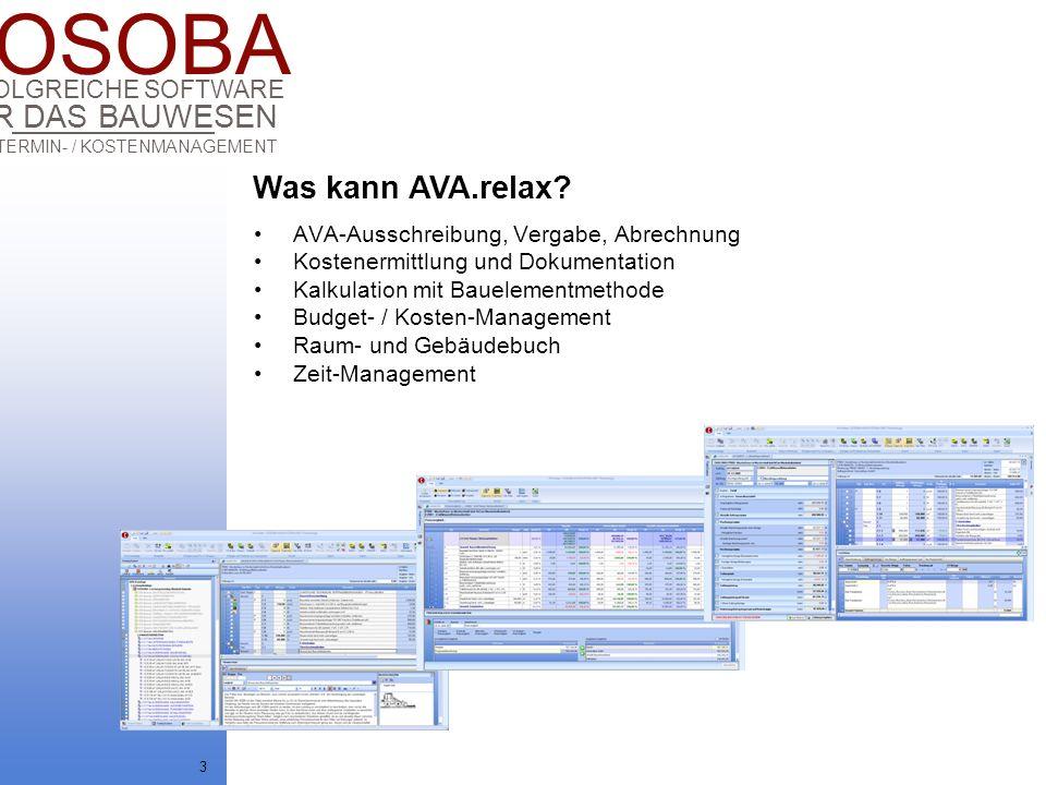 COSOBA AVA / TERMIN- / KOSTENMANAGEMENT FÜR DAS BAUWESEN ERFOLGREICHE SOFTWARE 3 AVA-Ausschreibung, Vergabe, Abrechnung Kostenermittlung und Dokumenta