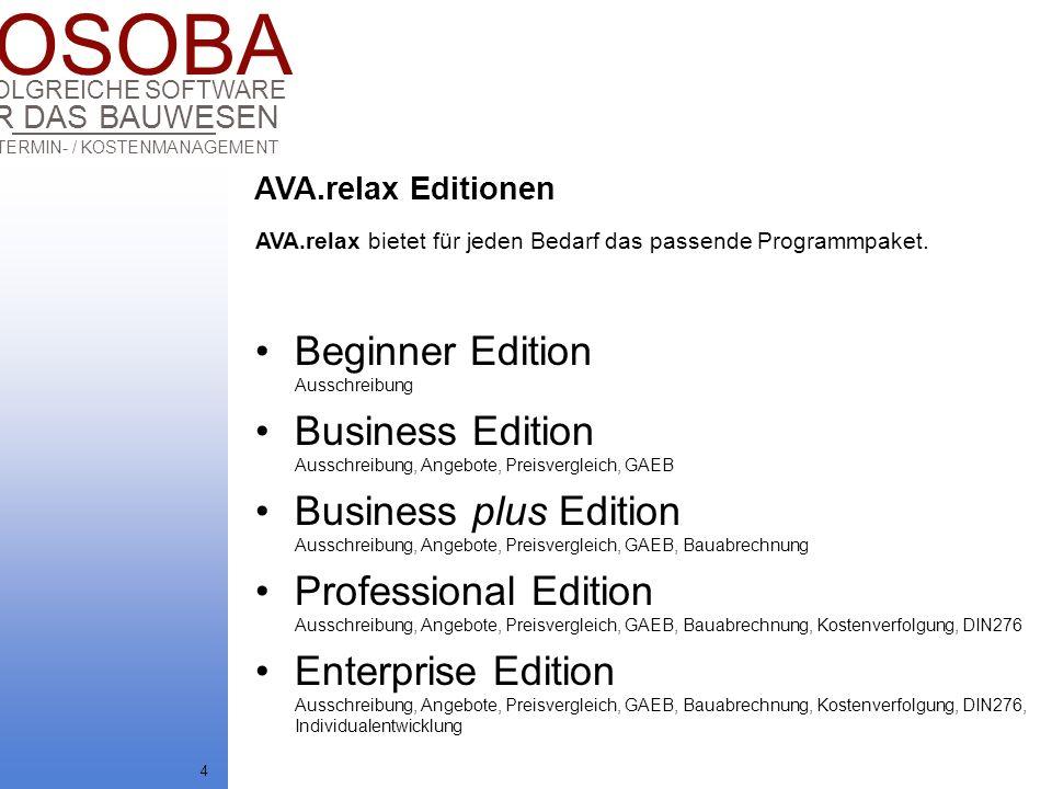 COSOBA AVA / TERMIN- / KOSTENMANAGEMENT FÜR DAS BAUWESEN ERFOLGREICHE SOFTWARE 4 Beginner Edition Ausschreibung Business Edition Ausschreibung, Angebo