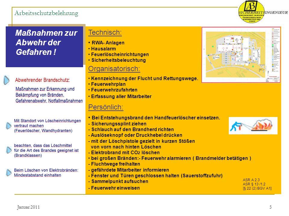 Januar 20115 Arbeitsschutzbelehrung Maßnahmen zur Abwehr der Gefahren ! Technisch: RWA- Anlagen Hausalarm Feuerlöscheinrichtungen Sicherheitsbeleuchtu