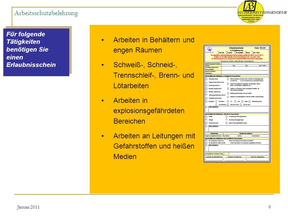 Januar 20119 Arbeitsschutzbelehrung Für folgende Tätigkeiten benötigen Sie einen Erlaubnisschein Arbeiten in Behältern und engen Räumen Schweiß-, Schn