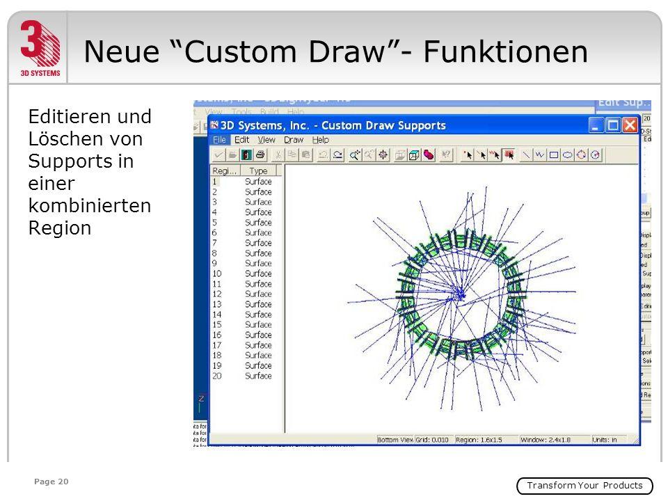 Transform Your Products Page 20 Editieren und Löschen von Supports in einer kombinierten Region Neue Custom Draw- Funktionen