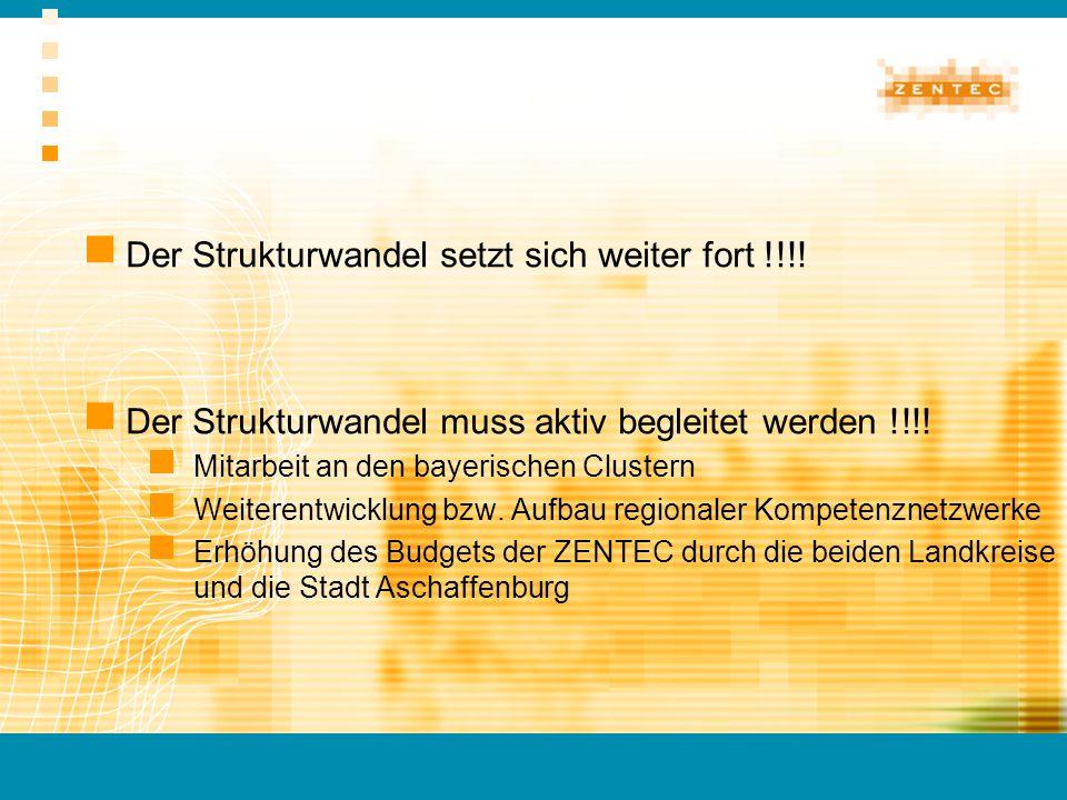 Der Strukturwandel setzt sich weiter fort !!!! Der Strukturwandel muss aktiv begleitet werden !!!! Mitarbeit an den bayerischen Clustern Weiterentwick