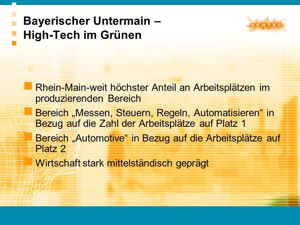 Rhein-Main-weit höchster Anteil an Arbeitsplätzen im produzierenden Bereich Bereich Messen, Steuern, Regeln, Automatisieren in Bezug auf die Zahl der