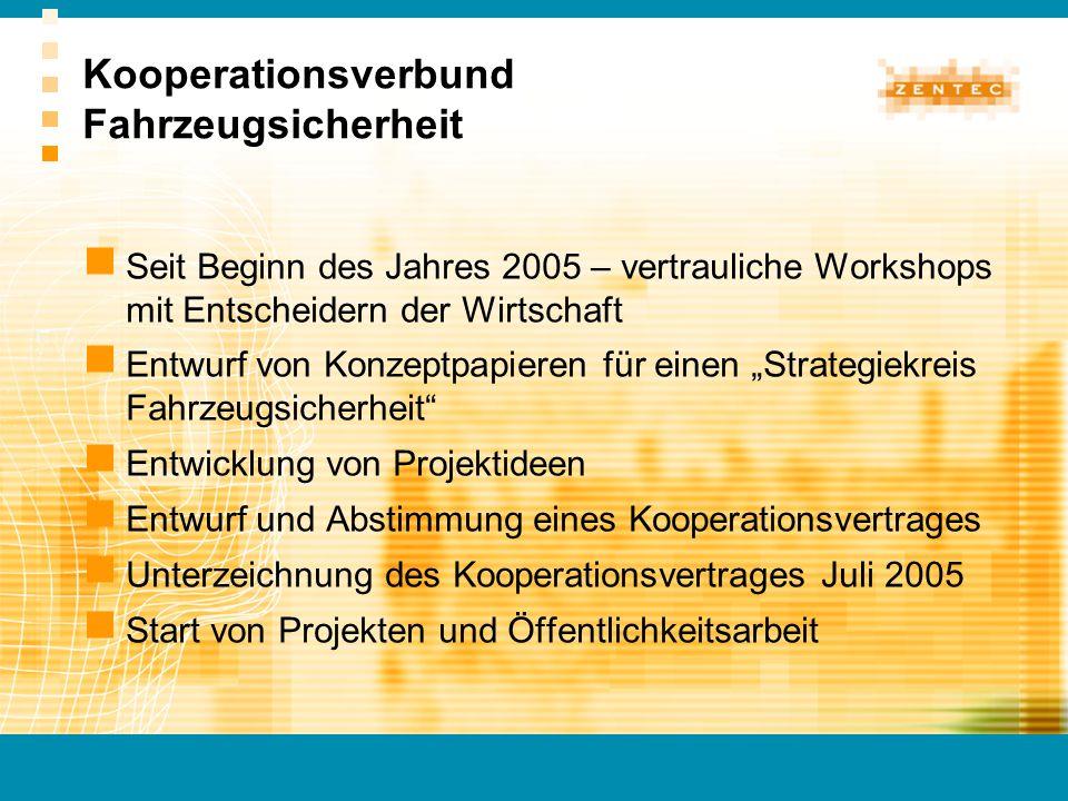 Kooperationsverbund Fahrzeugsicherheit Seit Beginn des Jahres 2005 – vertrauliche Workshops mit Entscheidern der Wirtschaft Entwurf von Konzeptpapiere