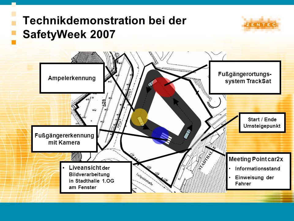 Technikdemonstration bei der SafetyWeek 2007 Start / Ende Umsteigepunkt Fußgängererkennung mit Kamera Meeting Point car2x Informationsstand Einweisung