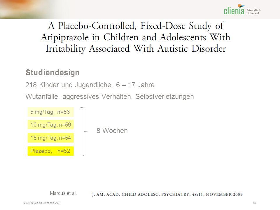 2008 © Clienia Littenheid AG13 Studiendesign 218 Kinder und Jugendliche, 6 – 17 Jahre Wutanfälle, aggressives Verhalten, Selbstverletzungen Marcus et al.
